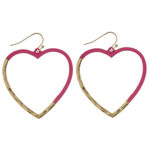 "Matte color coated heart hoop earrigs. Approximately 2"" in diameter."