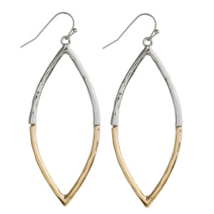 """Two tone pointed oval earrings. Approximately 2.5"""" in length."""