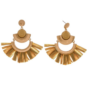 """Metal drop earrings featuring raffia tassel details and a enamel inspired stone accent. Approximately 3"""" in length."""