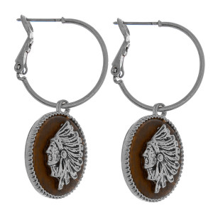 """Dainty hoop earrings featuring a faux leather accent with Indian details. Approximately 2"""" in length."""
