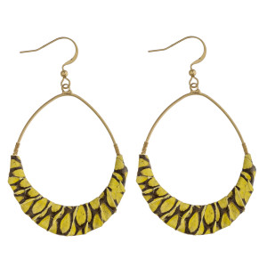 "Teardrop earrings featuring faux leather snakeskin wrapped details. Approximately 2.5"" in length."