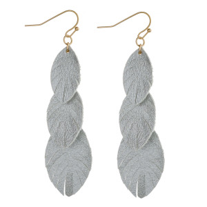 """Faux leather feather inspired drop earrings with metallic details. Approximately 3"""" in length."""