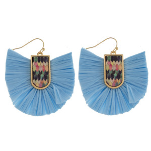 """Drop earrings featuring raffia tassel details with a wood inspired pattern accent. Approximately 2"""" in length."""