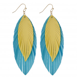 """Double layered two tone faux leather feather earrings. Approximately 3.5"""" in length."""