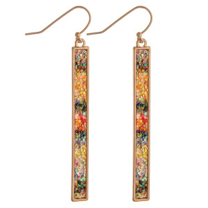 """Metal bar earrings with multicolor glitter details. Approximately 2.5"""" in length."""