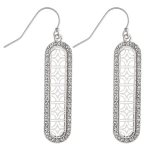 """Filigree inspired oblong bar earrings featuring cubic zirconia details. Approximately 2"""" in length."""