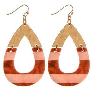 """Resin marble inspired teardrop earrings featuring color block details and gold accents. Approximately 2.5"""" in length."""