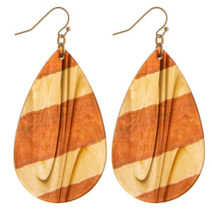 """Resin marble inspired teardrop earrings with color block details. Approximately 2.5"""" in length."""