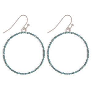 """Dainty circular drop earrings featuring cubic zirconia details. Approximately 1.5"""" in diameter."""