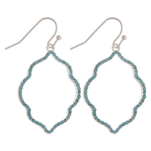"""Dainty, lotus inspired drop earrings featuring cubic zirconia details. Approximately 1.5"""" in length."""