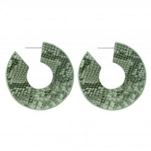 """Faux leather snakeskin hoop earrings with a stud post. Approximately 2"""" in diameter."""