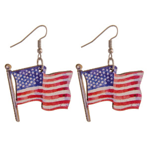 "Wood inspired American Flag earrings. Approximately 1.5"" in length."