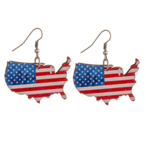 "Wood inspired USA earrings. Approximately 1.5"" in length."