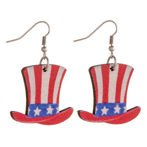 """Wood inspired Uncle Sam Hat earrings. Approximately 1.5"""" in length."""