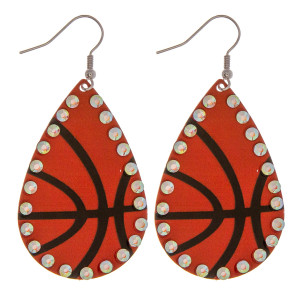 """Metal basketball drop earrings featuring rhinestone accents. Approximately 2"""" in length."""