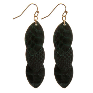 "Faux leather snakeskin drop earrings. Approximately 2.5"" in length."