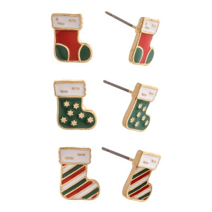 """Christmas stud earring set featuring three pairs with stocking enamel details. Approximately 1cm smallest size, .5"""" biggest size."""