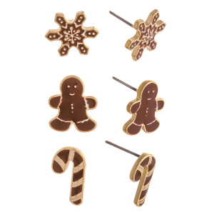 """Christmas stud earring set featuring three pairs with snowflake, gingerbread and candy cane enamel details. Approximately .5"""" in size."""