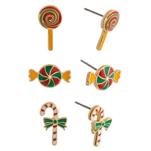 """Christmas stud earring set featuring three pairs with candy, candy cane adn lollipop enamel details. Approximately .5"""" in size."""