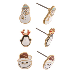 Christmas stud earring set featuring three pairs with snowman, nightmare before Christmas and penguin enamel details. Approximately 1cm in size.