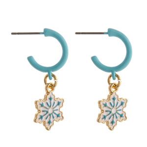 """Enamel coated snowflake huggie open hoop earrings.   - Approximately 1"""" in length"""