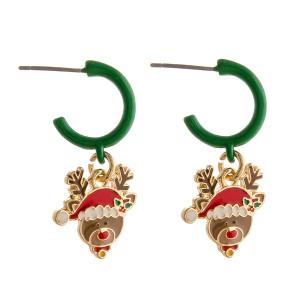 """Enamel coated Reindeer huggie open hoop earrings.   - Approximately 1"""" in length"""