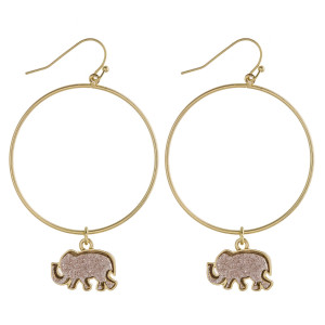 "Round metal earrings featuring a druzy elephant accent. Approximately 2.5"" in length."