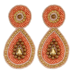 """Seed beaded felt teardrop earrings with rhinestone accents. Approximately 3"""" in length."""