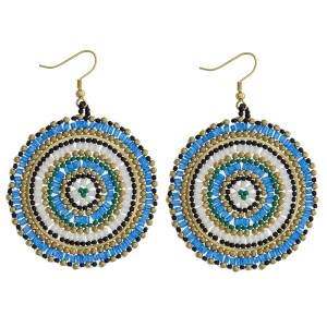 """Seed beaded woven disc drop earrings. Approximately 2.5"""" in length and 1.75"""" in diameter."""