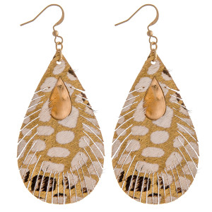 """Genuine leather metallic animal print teardrop earrings with metal accents. Approximately 3"""" in length."""