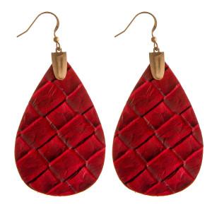 """Faux leather teardrop dangle earrings. Approximately 2.5"""" in length."""