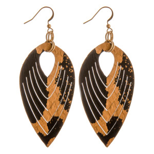 "Genuine leather metallic accented dangle earrings. Approximately 3"" in length."