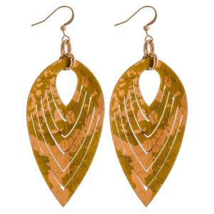 """Genuine leather metallic accented dangle earrings. Approximately 3"""" in length."""