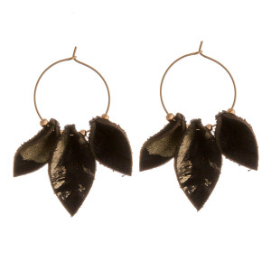 "Genuine leather metallic fur accented wire hoop earrings. Approximately 2"" in length."