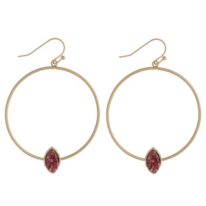 """Druzy accented open metal circle dangle earrings. Approximately 2"""" in length."""