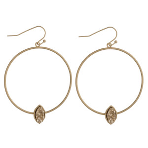 "Druzy accented open metal circle dangle earrings. Approximately 2"" in length."