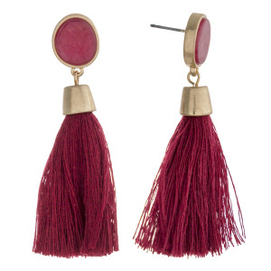 "Natural stone encased thread tassel dangle earrings. Approximately 2.25"" in length."