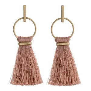 """Fan tassel bar stud open circle dangle earrings. Approximately 3"""" in length."""