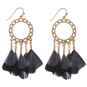 "Chain link boho feather chandelier earrings. Approximately 2.5"" in length."