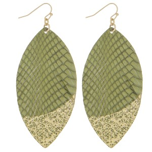 """Thin faux leather gold metallic feather earrings.   - Approximately 3.5"""" in length"""