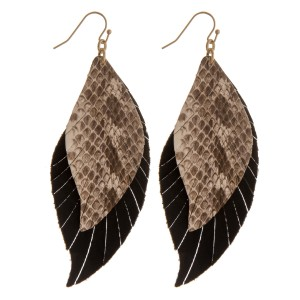 """Layered faux leather snakeskin feather boho earrings.  - Approximately 3.5"""" in length"""