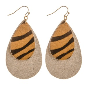 "Faux fur animal print metallic teardrop earrings.   - Approximately 2.5"" in length"