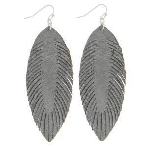 """Faux leather cowhide narrow feather earrings.  - Approximately 3.5"""" in length"""