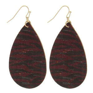 "Zebra print cork teardrop earrings.   - Approximately 2.5"" in length"