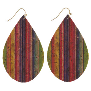 "Thin cork diagonal serape teardrop earrings. Approximately 3"" in length."