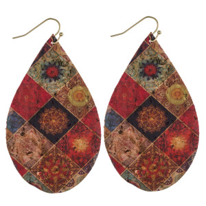 "Thin cork geometric flower print teardrop earrings. Approximately 3"" in length."