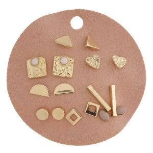 """Dainty various natural stone stud earring set featuring nine pairs on a 2.5 x 2.5"""" faux leather disc display."""