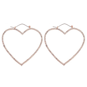 "Cubic zirconia heart pin catch hoop earrings. Approximately 2.25"" in length."