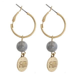 """Gold natural stone """"Faith"""" engraved dangle hoop earrings. Approximately 1.5"""" in length."""