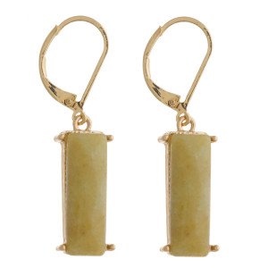 "Natural stone bar dangle lever back earrings. Approximately 1.5"" in length."